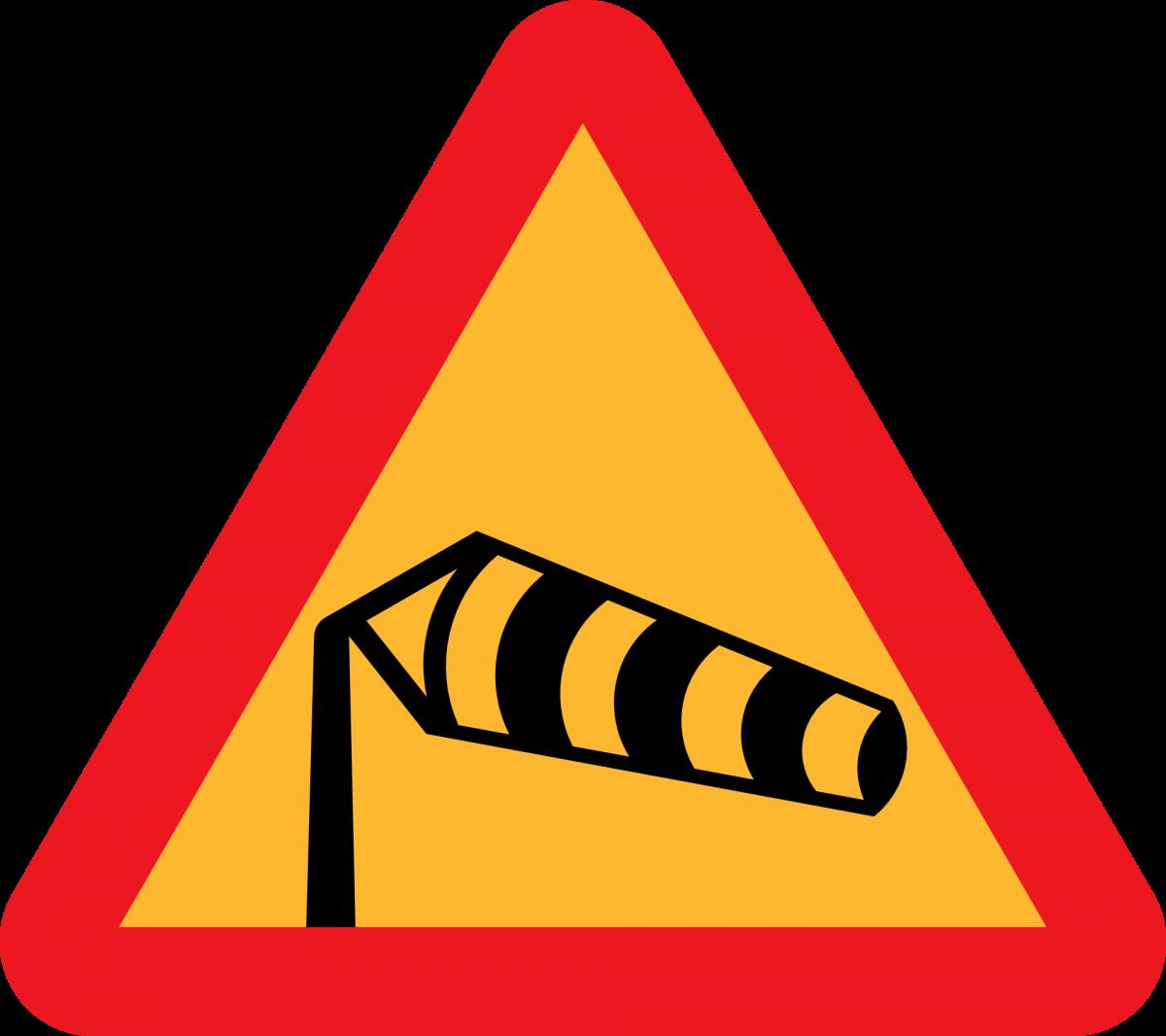 Znak Uawga boczny wiatr
