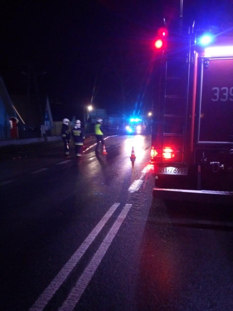 Zabezpieczenia miejsca wypadku przez strażaków