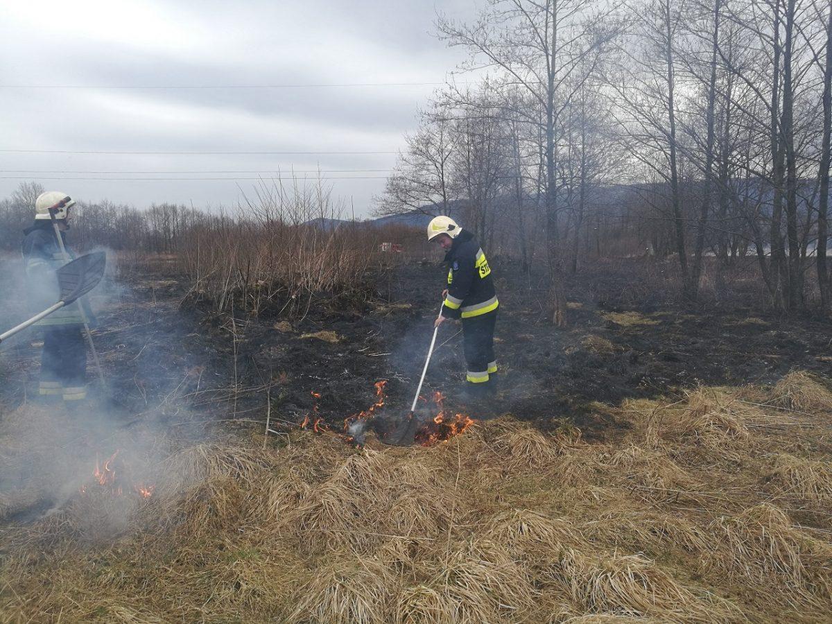 Strażak ugasza pożar
